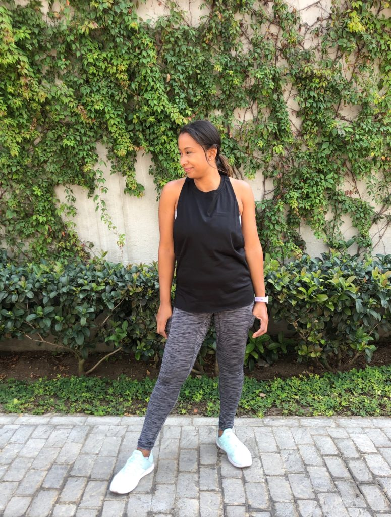 amazon grey space leggings and muscle tank